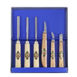 KIRSCHEN Dłuta snycerskie + nóż - zestaw 6 szt (3406000)