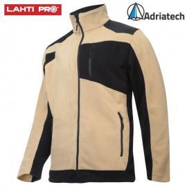 LAHTI Bluza polarowa ze wzmocnieniami beżowo-czarna L40119