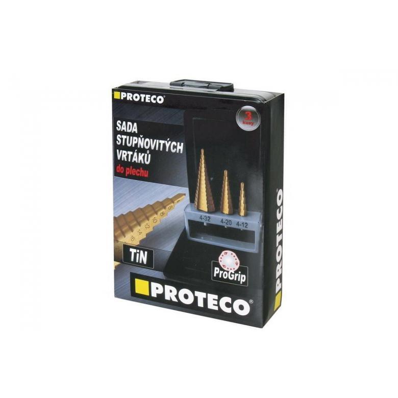 PROTECO Wiertła stopniowe TiN  (azotek tytanu) INDUSTRY - zestaw 3szt (90.42-ST99)