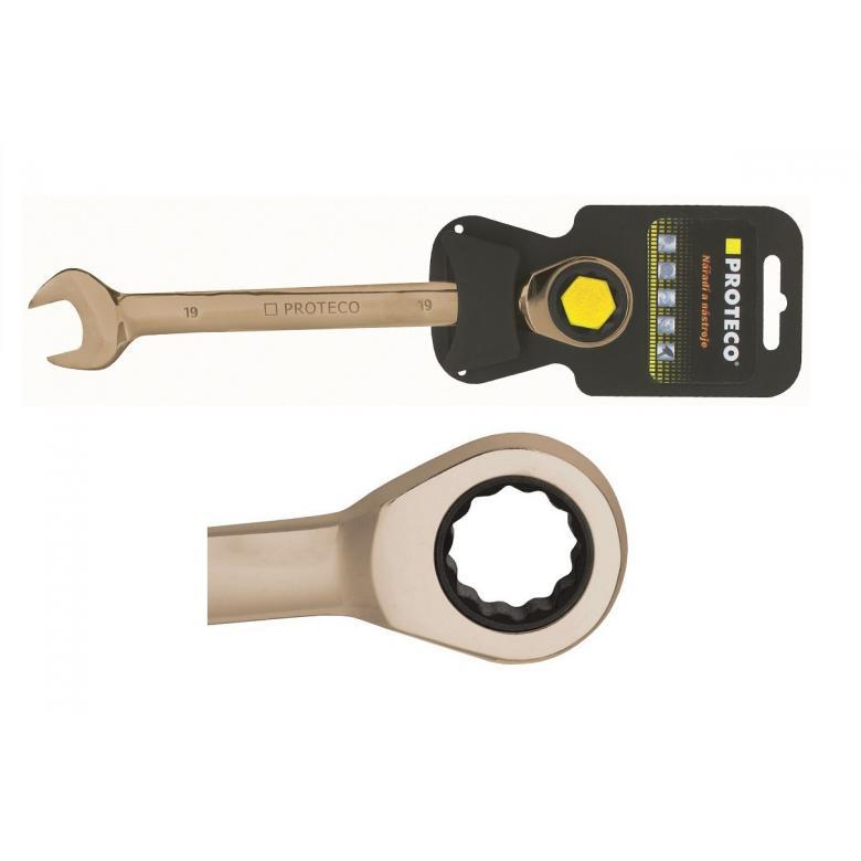 PROTECO Klucz płasko-oczkowy z grzechotką 19 mm z pokryciem GUNMETAL (42.18-344-019) #2